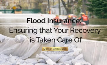 Flood Protection Sandbags with flooded homes i
